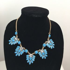 Turquoise and clear crystal statement necklace